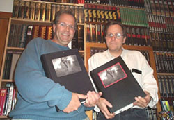 Jerad Walters of Centipede Press (right) is holding the 1 of 15 Deluxe edition (roman numeral #1 in red ink) of the limited edition Salem's Lot. Robert Drew of Rare*Collectible*Books (left) am on the left holding the 1 of 300 numbered editions (#1 in black ink)